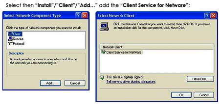 "网络增加""Client Service for Netware"""