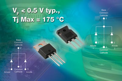 Vishay pushs first the 5th acting high-powered 45V diode of Xiao Te radical